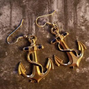 Vintage 80s Anchor Earrings